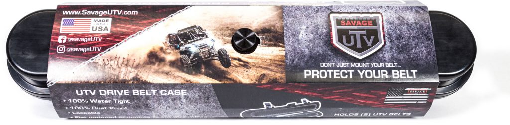 Front of Savage UTV Belt Case packaging.