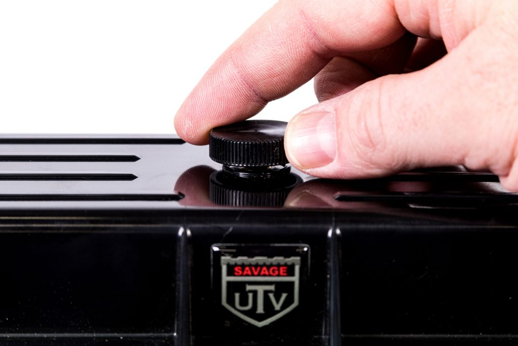 Savage UTV Belt Case pressure vent.